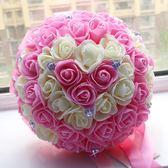 結婚婚禮新娘手捧花仿真花 韓式 大束金邊玫瑰28cm 婚慶用品梗豆物語