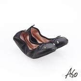 A.S.O 阿瘦集團 輕履鞋 綁帶軟羊皮可折疊娃娃鞋 黑