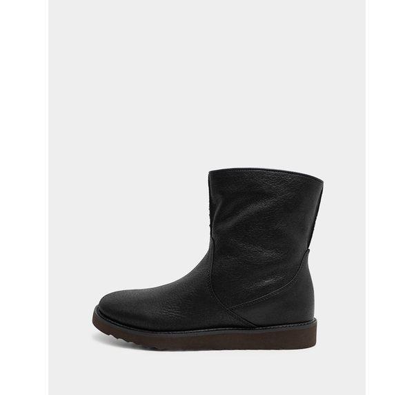 真皮短靴-R&BB牛皮*極簡歐美厚底騎士靴-黑色