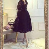 現貨 長袖洋裝  定制名媛氣質長袖蕾絲中長款連衣裙禮服 602-779