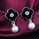 925純銀耳環 珍珠(耳針式)-花蕊好搭生日七夕情人節禮物女飾品2色73au89[巴黎精品]