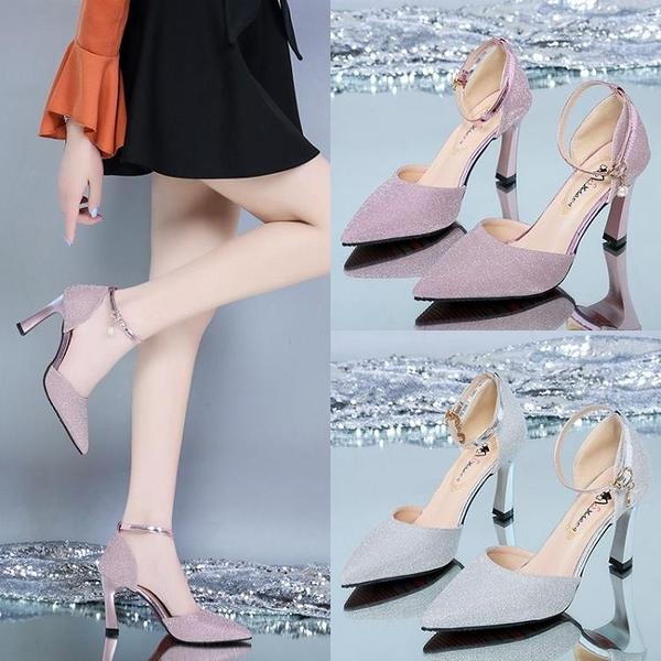 高跟鞋女年新款春款單鞋女春秋百搭細跟中跟皮鞋女鞋子女涼鞋 格蘭小鋪