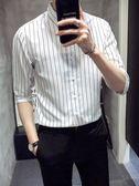 男士短袖襯衫韓版修身條紋帥氣襯衣青少年潮流休閒中袖白寸衣 黛尼時尚精品