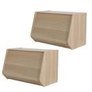 (組)日本IRIS木質可掀門堆疊櫃W60H40-淺木色(二入)