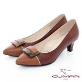 【CUMAR】優雅化身- 復古玳瑁拼色尖頭高跟鞋(酒紅色)