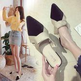 拖鞋女夏外穿新款韓版百搭尖頭包頭半拖低跟粗跟半托防滑涼拖