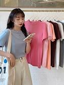 短袖T恤 純棉短袖T恤女夏2021年新款白色半袖上衣純色短款寬鬆打底衫ins潮 伊蘿