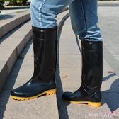 雨靴 成人雨鞋男士高筒防滑雨靴水靴男款加絨水鞋套鞋膠鞋LB4146【Rose中大尺碼】