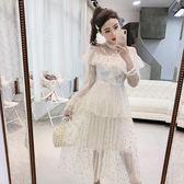 洋裝 星星亮片蕾絲仙女網紗蛋糕裙打底韓版歐根紗連身裙 糖果時尚