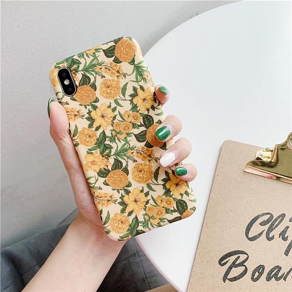 復古法式黃花 適用 iPhone12Pro 11 Max Mini Xr X Xs 7 8 plus 蘋果手機殼