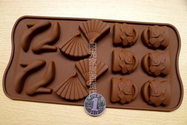 [協貿國際]  高跟鞋扇子矽膠軟巧克力模  2個價