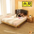 寢室組《百嘉美》拼接木紋系列雙人6尺日式房間組2件組/床頭+日式床底 BE020-6