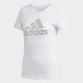 adidas 短袖T恤 Foil T-Shirt Logo 白 銀 女款 常規剪裁 純棉 三條線 【PUMP306】 DW5721