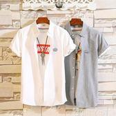 襯衫男短袖2019夏季新款帥氣青年休閒卡通刺繡白襯衣男士修身寸衣 可卡衣櫃