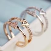 戒指 925純銀 鑲鑽-個性三角形生日情人節禮物女開口戒2色73dv18【時尚巴黎】