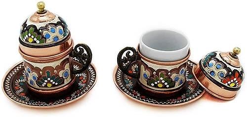 Copper Turkish【美國代購】土耳其咖啡杯 附茶碟和蓋子 - 2件組