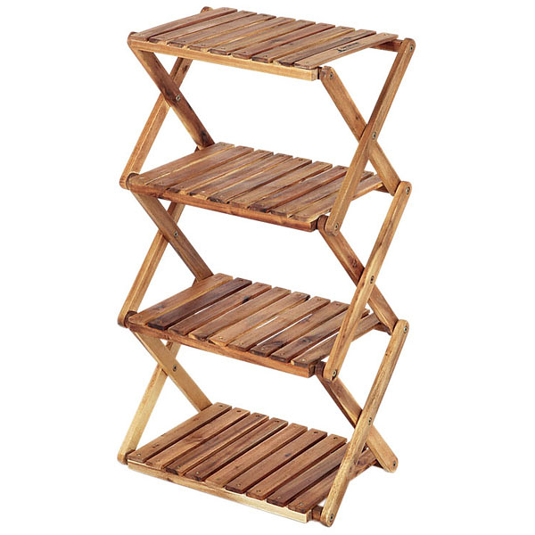 [CAPTAIN STAG]鹿牌 木製四層收納架(UP-2505)