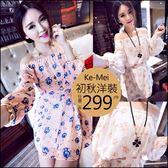 克妹Ke-Mei【AT47635】KOREA名媛小清新花朵圖騰露肩雪紡小洋裝