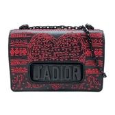 【台中米蘭站】全新品 DIOR JADIOR 紅心縫線限量秀款斜背包(黑)
