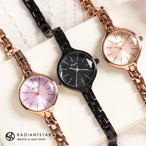 KIMIO天使的吻痕花玻璃切面金屬鍊帶手錶【WKI6265】璀璨之星☆