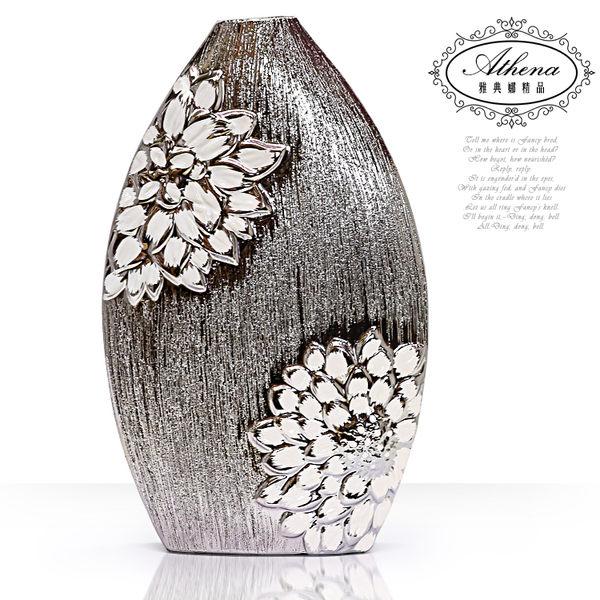 【雅典娜家飾】白薔薇陶瓷髮絲紋鍍銀花器-FB330