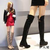 歐美低跟方跟時尚長筒齊膝靴女