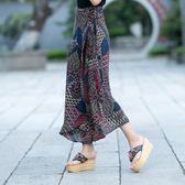 秋冬名族風復古高腰一片式長款雪紡半身裙【新品推薦】