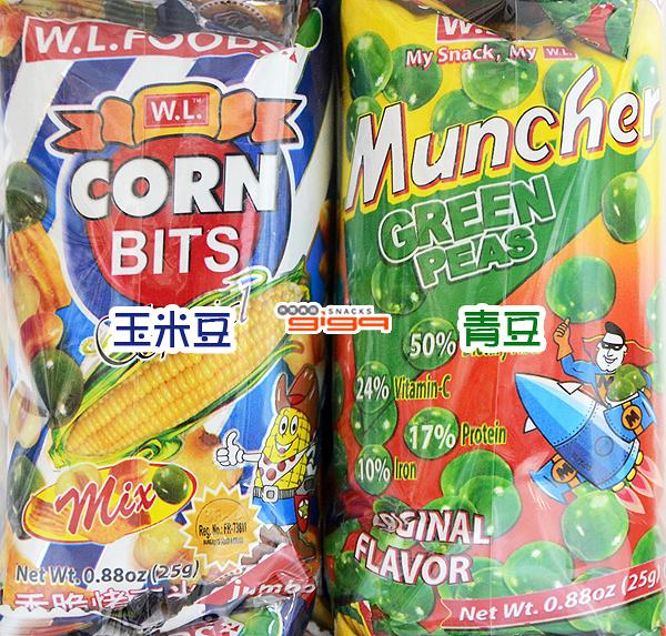 【吉嘉食品】Corn bits 玉米豆(綜合口味)25g/Muncher Green Peas青豆(原味)25g,1封20入[#1]