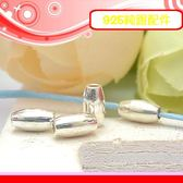 銀鏡DIY S925純銀材料配件/橄欖型隔珠亮面銀管6mm*3mm~適合手作串珠/蠶絲蠟線(非合金)