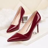 高跟鞋女 細跟高跟鞋 尖頭淺口漆皮女單鞋顯瘦性感職業OL韓版女鞋《小師妹》sm3108