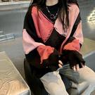 針織毛衣 長袖毛衣 秋冬外套撞色圓領慵懶風長袖毛衣女H5F-501.依品國際