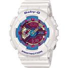 CASIO 卡西歐 Baby-G 彩色派對雙顯手錶-白 BA-112-7ADR / BA-112-7A