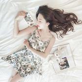 韓版學生睡衣女夏短袖可愛吊帶睡裙中裙冰絲