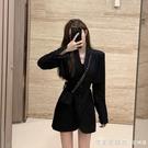 2021年秋裝新款赫本風小黑裙氣質名媛減齡輕奢高端收腰西裝洋裝 蘿莉新品