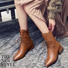 秋冬英倫風復古軟皮黑棕色尖頭馬丁靴加絨系帶低跟小跟短靴女靴子 qf36739【MG大尺碼】