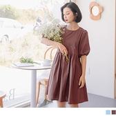 《DA8384-》高含棉造型後開襟小拋袖洋裝 OB嚴選