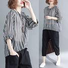 棉麻 顯瘦質條紋上衣-大尺碼 獨具衣格