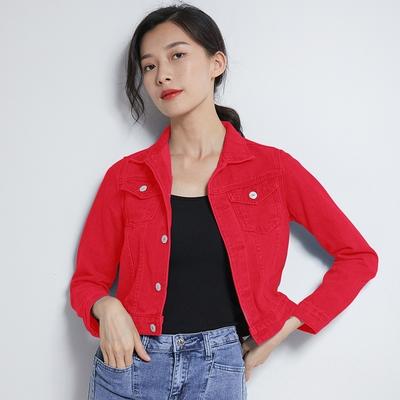 牛仔外套主推牛仔外套女修身彩色上衣學生韓版糖果色夾克衫B8268MC046日韓屋