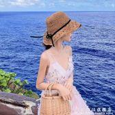 遮陽帽海邊度假搭配 沙灘度假帽子草編帽大檐太陽帽 定型可折疊 科炫數位