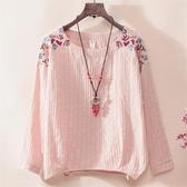 長袖襯衫女春秋新款寬鬆棉麻上衣民族風刺繡體恤遮肚子打底衫T恤