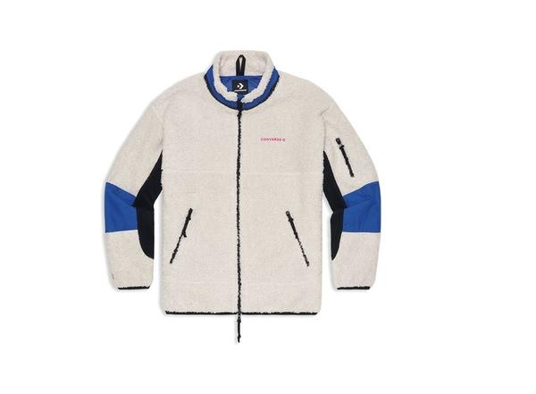 CONVERSE-SHERPA JACKET NATURAL IVORY 男款白藍色保暖外套-NO.10018039-A02