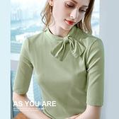 設計感T恤五分袖法式復古大翻領上衣(三色S-2XL可選)/設計家 AL301866