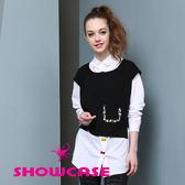 【SHOWCASE】蝴蝶結刺繡釦個性長版襯衫(白)