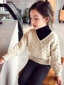 女童毛衣 2019秋冬季新款女童毛衣高領針織衫加厚保暖兒童洋氣童裝包芯紗【快速出貨】