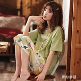 睡衣女夏季短袖薄款套裝甜美可愛學生七分褲家居服夏款韓版 FX4901 【夢幻家居】