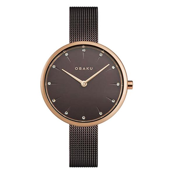 OBAKU晶鑽雋永時尚腕錶-棕