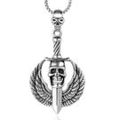 《 QBOX 》FASHION 飾品【CSP510】精緻個性歐美龐克風骷顱頭寶劍翅膀鑄造鈦鋼墬子項鍊/掛飾