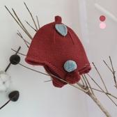韓系北歐樹葉針織護耳帽 帽子 童帽 防風護耳帽