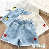 女童牛仔短褲夏裝大童刺繡外穿褲子韓版【奇趣小屋】