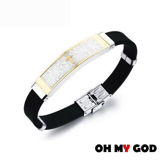 OH MY GOD歐美西班牙聖經十字架硅膠鈦鋼手環